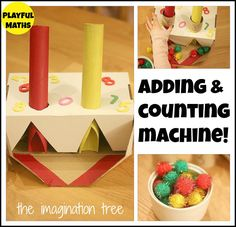 I love that the counting bits are fluffy poms that won't escape as far as marbles.  Addition and Counting Machine Maths Activity from http://theimaginationtree.com