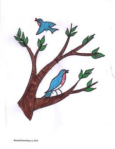 """Birds in a Tree"" Coloring Page - Free printable."