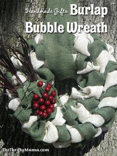 handmade gifts burlap bubble wreath main Handmade Gifts Tutorial | Burlap Bubble Wreath OMG I love this one @Ariel Jokai  and @Sarah Farrell