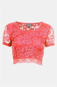 Topshop Pink Lace Crop Top!