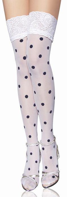 White Polka Dot Fashion Stocking Sexy Stocking Stocking