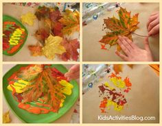 Messy craft with paint and leaves!