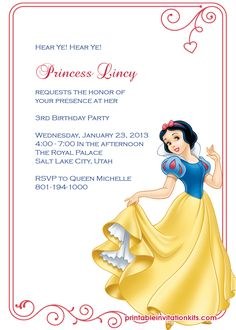 Snow White Princess Birthday Invitation