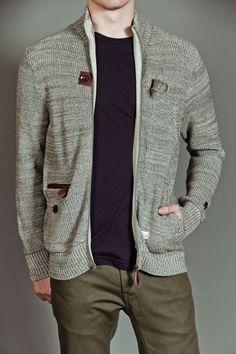 Marshall Artist Zip Through Cardigan Sweater Grey >> Nice sweater for my husband.