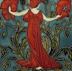 ❤ -  Walter Crane (1845-1915) was a British book illustrator, but in 1900 he designed this set of tiles for the Pilkington Tile & Pottery Company.  The set is titled Flora's Retinue, the six tiles (in order) are Bluebell, Anemone, Columbine, Daffodil, Poppy, and Cornflower. Something about working with incised ceramic tile brought out an affinity ane for Art Nouveau in Crane's style that is not readily apparent tin his other works. The tiles are in the collection of the Victoria & Albert Museum