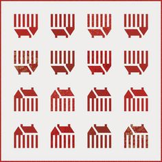 Zip Code quilt pattern, red and white quilt at Minick and Simpson