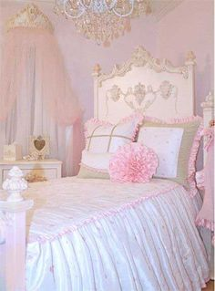 Shabby Chic Bedroom. My inner little girl want this.
