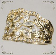 Stunning Vintage 1 3/4ctw Diamond Leaf Filigree 14k Gold Band Ring