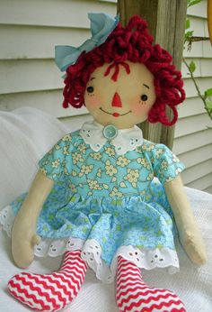 Raggedy Ann Doll in Turquoise and Blue Print by MyDisgustedCats, $36.00 blue print