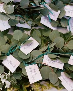 Calligraphed escort cards were nestled into garland and secured with thin green velvet ribbon.