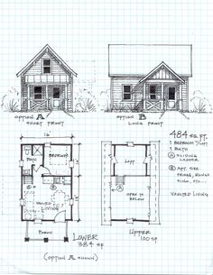 I Adore this floor plan!!! I really want to live in a small open floor plan cabin! maybe with a bit more room than this one.id like two bedroom with loft idea, cottag, guest hous, tini hous, small house plan, floor plans, cabin plans, small houses, small cabins