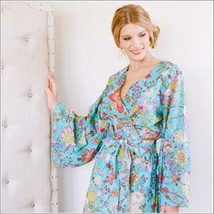 Kimono Style Robe. Knee Length. Darling Jardin Bleu. - Plum Pretty Sugar