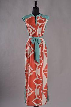 $60 - Orange/teal print maxi dress