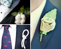 Flowerless Boutonniere Ideas - The Knot - How about a black monkey knot and some other little things that remind us of each other?