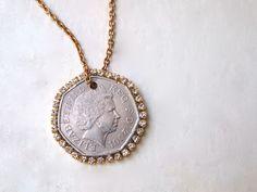DIY Coin N Rhinestone Pendant Necklace