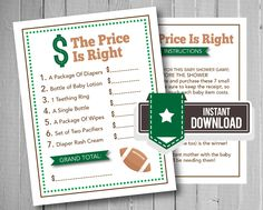 The Price Is Right Baby Shower Game | Football Theme | Sports Baby Shower Ideas