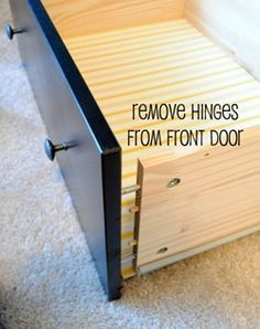 How to make a hinged printer drawer in an old dresser--http://www.pbjstories.com/2012/01/my-hide-away-printer-project.html