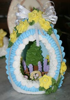 Panoramic Sugar Easter Eggs. inside flower details