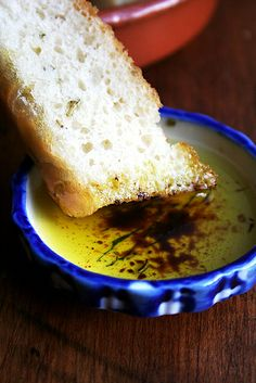 Homemade basil oil with balsamic and homemade focaccia