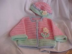Pretty colour Combinations  Sweater and Hat Set Pastel pink mint with pale blue trim by cmu55