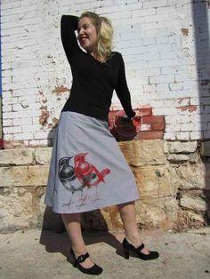 Silk-screened Bird Skirt