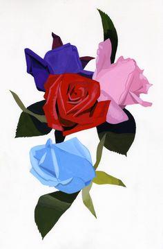 オリジナルプリント 薔薇4色 アップ