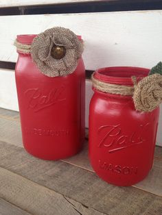 Red painted mason jars rustic decor mason jar by scrapartbynina
