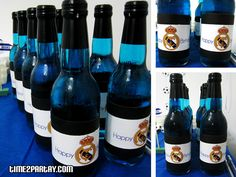 Drinks with customized labels - Real Madrid Soccer Themed Party #soccer #party #theme #birthday #blue #white #real #madrid #football #cake #cupcake #dessert #cookies #background #banner #hats #trophy #favor #popcorn #flag #thanks #chocolate
