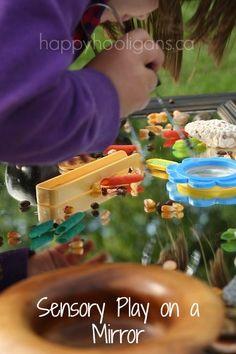 sensory play on a mirror