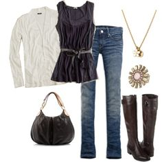 Adorable! jean, tall boots, blous, outfit, fall looks, brown boots, black, shirt, cold weather