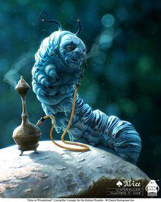 character art, hookah, alan rickman, blue, concept art, alice in wonderland, character design, tim burton, aliceinwonderland