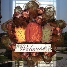 Pumpkin and Leaves Welcome Fall deco mesh Wreath by DzinerDoorz