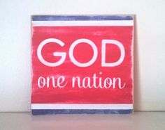 "Americana Decor - ""One Nation Under God"" Wood Sign, Distressed, 12"" x 12"" Memorial Day/4th of July"