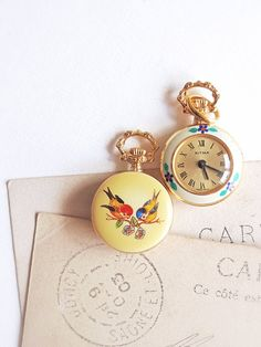 Vintage Pocket Watch Small Enameled Ladies' Watch by antiquissimo, $46.00
