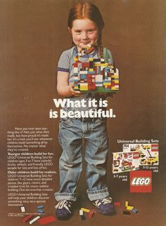 Somehow, since this ad, lego has started marketing uniquely to boys, with a line of pink dollhouse crap for girls. I don't quite understand ><
