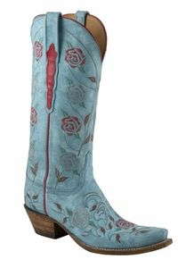 Ladies Lucchese Classics Destroyed Robin Egg Blue Goat Custom Hand-Made Western Boots L4685
