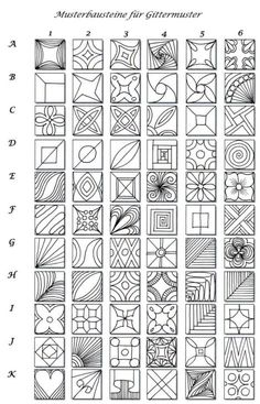 Musterbausteine für Gittermuster: zentangle grid seeds