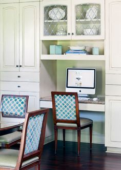 decor, dining rooms, kitchen desks, chairs, dream kitchen, cabinet, kitchen office, desk areas, desk nook
