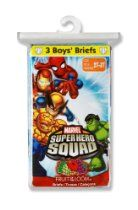 Fruit of the Loom Boys 2-7 3 Pack Super Hero Squad Toddler Briefs Prints
