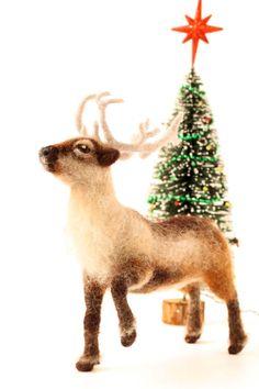 Needle Felted Reindeer Christmas sculpture by YvonnesWorkshop, $162.00