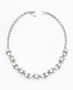 ann taylor silver crystal necklace