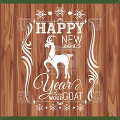 """New year 2015 greeting card with contour of goat and vignettes on wooden background, download royalty-free vector clipart (EPS) Perfect for my """"goat girl"""""""