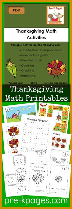 Printable Thanksgiving Math Activities for Preschool and Kindergarten. Counting, numbers, one-to-one, patterns and more!