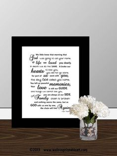 In Memory Of  Framed Quote Print Printable by WeLovePrintableArt, $5.00 In Memory Of - Framed Quote Print, Printable wall art decor, digital typography In Loving Memory Poem, Sympathy Gift