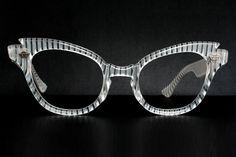 White Stripes Vintage Cat Eye Glasses #fashion #style #accessories