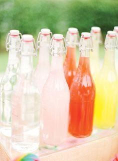 wedding ideas, colorful drinks, colors, lemonade, pink weddings, wedding foods, wedding drinks, bottles, summer weddings