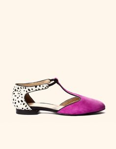Candela Steph Flat - cutout flat with pony and fuschia suede.