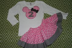 Disney Outfit, Minnie Mouse Shirt and Matching Skirt