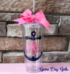 Anchor Monogrammed 20oz tumbler. $22.00, via Etsy.
