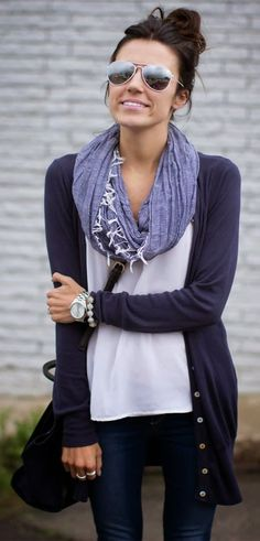 A simple cardigan is your go-to layer this year. I love the scarf paired with the basic white tee and cardi.